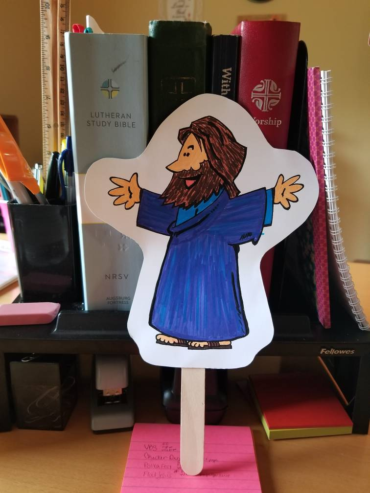 Flat Jesus at work with Katie at St John Lutheran Church in Ely