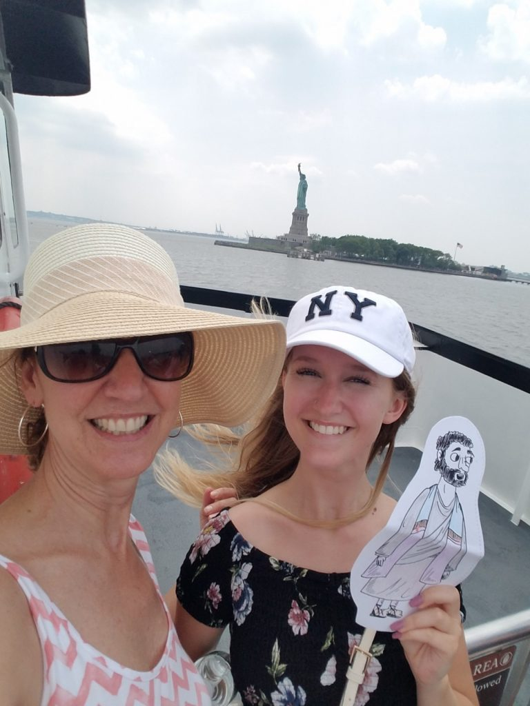 Flat Jesus visit the Statue of Liberty with the Hawkins' from St. John Lutheran in Ely