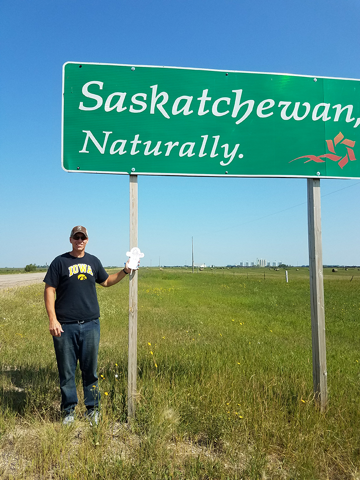 Flat Jesus visits Saskatchewan Canada