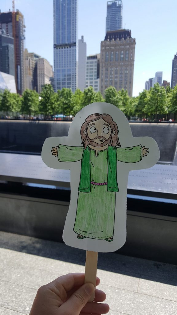 Flat Jesus pays his respects at the World Trade Center Memorial. ❤ #SJLCFLATJESUS2018