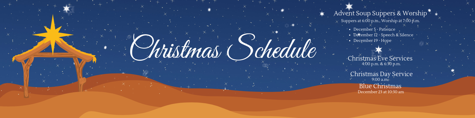 Join us this holiday season as we provide Advent worship and soup suppers, and prepare for Christmas at St John Lutheran in Ely, IA.